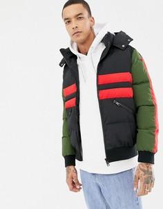 Черная дутая куртка с полосками Criminal Damage - Черный