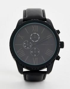 Часы с римскими цифрами дополнительными циферблатами ASOS DESIGN - Черный