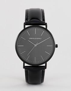 Часы с черным лакированным ремешком ASOS DESIGN - Черный