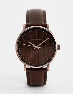 Часы матового медного цвета с отделкой под дерево ASOS DESIGN - Коричневый