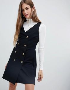 Двубортное платье-сарафан New Look - Черный
