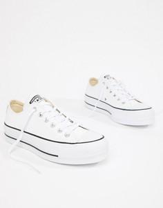 Белые низкие кожаные кеды на платформе Converse Chuck Taylor All Star - Белый
