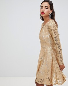 Приталенное платье со складками Closet London - Золотой