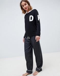 Фланелевые пижамные брюки в полоску DKNY - Черный
