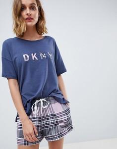 Фланелевая пижама с маской для сна DKNY - Темно-синий