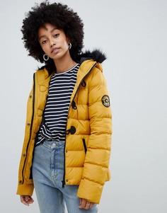 Короткое стеганое пальто с капюшоном из искусственного меха Brave Soul - Желтый