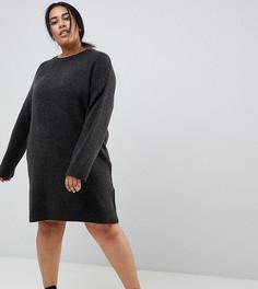 Вязаное платье мини из пушистой пряжи ASOS DESIGN Curve - Серый