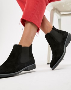 Черные замшевые ботинки челси Dune Prompted - Черный