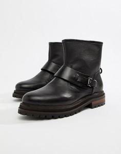 Черные кожаные байкерские ботильоны с пряжками Hudson London - Черный