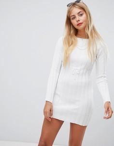Платье скинни с длинными рукавами в рубчик Emory Park - Белый
