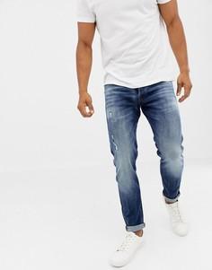 Синие суженные книзу джинсы с выбеленным эффектом Jack & Jones - Синий