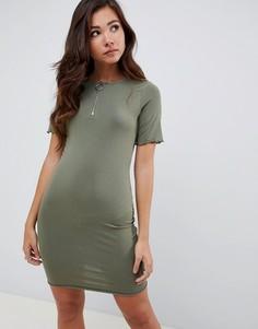 Платье-футболка с молнией ASOS DESIGN - Зеленый