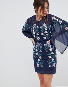 Платье шифт с рукавами кимоно и вышивкой Frock & Frill - Темно-синий