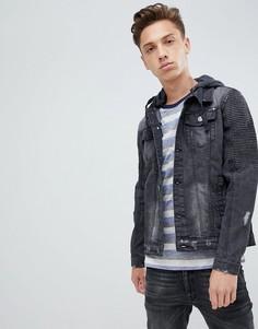 Черная выбеленная джинсовая куртка с трикотажным капюшоном Brave Soul - Черный