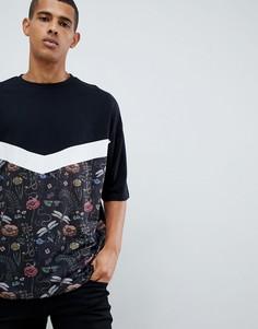 Свободная футболка с рукавами до локтя и вставкой с цветочным принтом ASOS DESIGN - Черный
