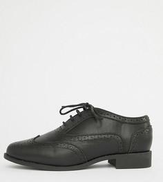 Броги для широкой стопы со шнуровкой London Rebel - Черный