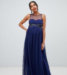 958b7c91644 Темно-синее платье макси с отделкой на талии Little Mistress Maternity -  Темно-синий