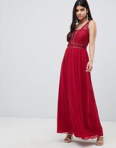 Ягодное платье макси с отделкой на талии Little Mistress - Красный