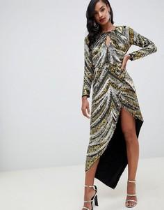 Асимметричное платье с пайетками и бахромой ASOS EDITION - Мульти