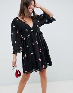 Свободное платье мини с вышивкой ASOS DESIGN - Черный
