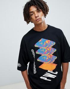 Длинная oversize-футболка с мраморным абстрактным принтом и рукавами до локтя ASOS DESIGN - Черный