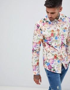 Бежевая приталенная рубашка с цветочным принтом ASOS DESIGN - Белый