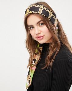 Большой квадратный платок на голову/шею с ярким принтом цепочек ASOS DESIGN - Мульти