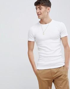 Обтягивающая футболка в рубчик из органического хлопка Esprit - Белый