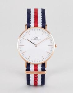 Классические часы с парусиновым ремешком Daniel Wellington Canterbury - 36 мм - Красный