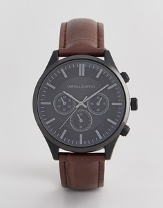 Часы с черным корпусом и крокодиловым узором на ремешке ASOS DESIGN - Коричневый