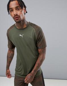 Футболка цвета хаки с графическим принтом Puma Training 516856-03 - Зеленый