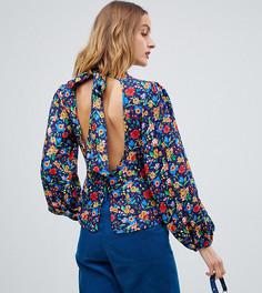 Блузка с высоким воротом и цветочным принтом Reclaimed Vintage Inspired - Мульти