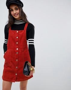 Платье-сарафан цвета ржавчины на пуговицах Miss Selfridge - Коричневый
