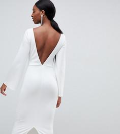 Облегающее платье миди с открытой спиной и рукавами клеш ASOS DESIGN Tall - Белый