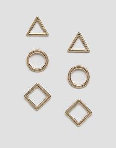 Набор из 3 пар серег-гвоздиков Nylon - Золотой