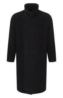 Шерстяное однобортное пальто с воротником-стойкой Emporio Armani