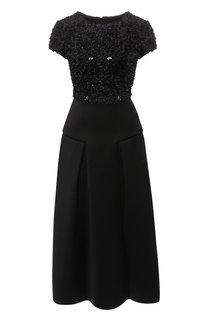 Приталенное платье-миди с декоративной отделкой Emporio Armani