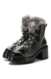 Кожаные ботинки с отделкой из меха лисы на устойчивом каблуке Premiata