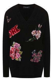 Кашемировый пуловер с декоративной отделкой Dolce & Gabbana
