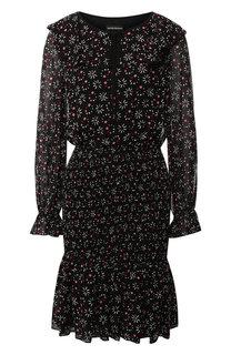 Платье с оборками и принтом Emporio Armani