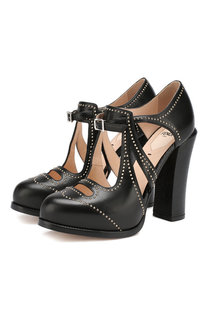 Кожаные туфли на устойчивом каблуке Fendi