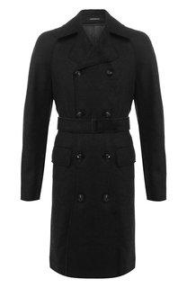 Шерстяное двубортное пальто Emporio Armani