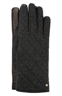 Кожаные перчатки с текстильной отделкой Emporio Armani