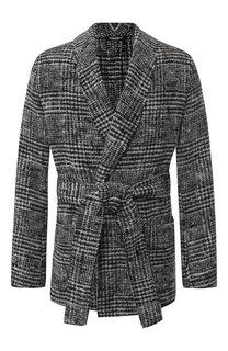 Однобортный пиджак из шерсти с поясом Dolce & Gabbana