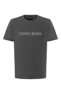 Хлопковая футболка с логотипом бренда BOSS