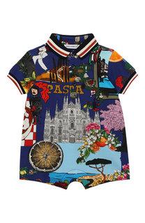 Хлопковый комбинезон с принтом Dolce & Gabbana