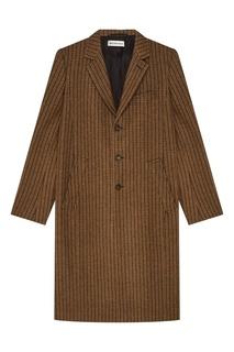 Коричневое пальто в клетку Balenciaga