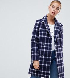 Шерстяное пальто в клетку Missguided Petite - Темно-синий