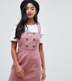 Розовое вельветовое платье-сарафан с пуговицами River Island Petite - Розовый
