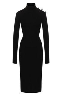 Шерстяное платье с декоративным разрезом David Koma